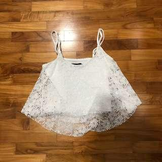 🚚 temt white lace top