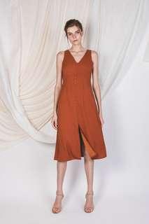 🚚 S Klarra V-NECK SLIT DRESS IN BURNT ORANGE  $79