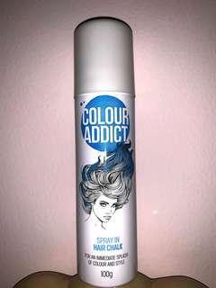 COLOUR ADDICT - HAIR CHALK SPRAY (blue) . Made in Australia.