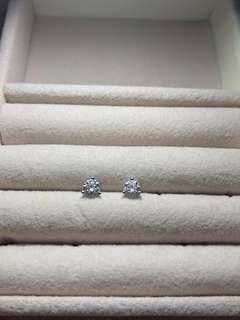 GIA D色 好火彩 60份鑽石耳環一對