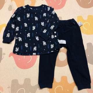 🚚 Uniqlo baby 男童刷毛居家服睡衣套裝 - 深藍/100