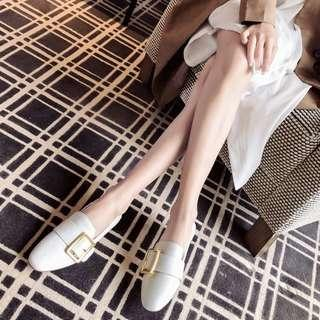 White Buckle Loafers/Slip-ons