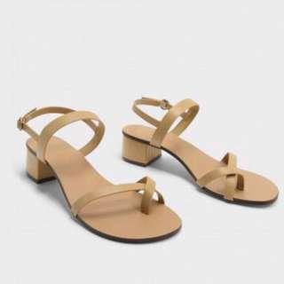 Charles & Keith Nude Sandals Block Heels