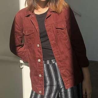 🚚 Red denim jacket