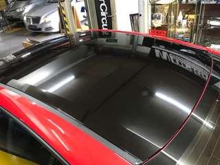 Honda civic FC roof, handles & side mirror wrapped with high gloss black!