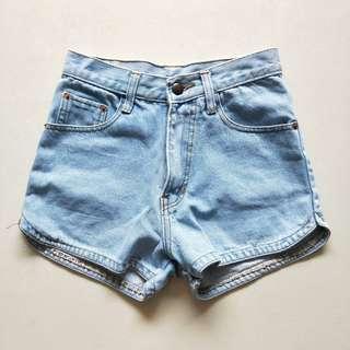 light denim blue curve cut shorts