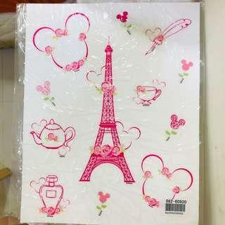 🚚 日本迪士尼 米奇米妮 巴黎鐵塔主題 壁貼