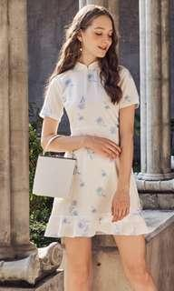 tcl ainsley floral printed dropwaist dress in powder blue