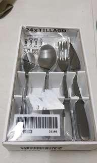 Ikea TILLAGD 24-piece cutlery set, black