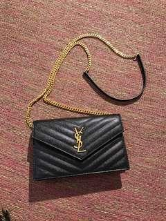 Ysl wallet on chain authentic black gold hardware