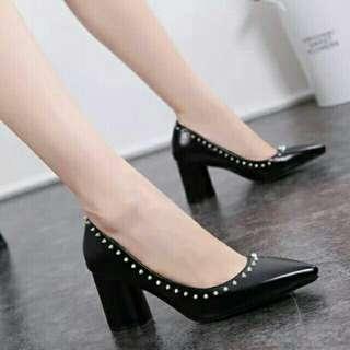 NEW Fashion PU Leather Pointed Toes Round Pump High Heel #50TXT #makespaceforlove