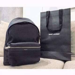 Saint Laurent - City Backpack in Nylon Canvas  & Leather YSL背囊 (Navy Blue)