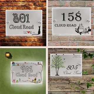 🆕🆒 Personalized Modern House Number Door Sign Plaque Street Acrylic Matte Glass TOP House Address Plaques Outdoor Signs