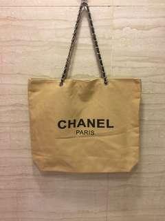 Chanel canvas chain tote