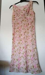 Pink flower onepiece dress