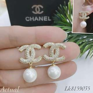 8a98d92b90e CLEARANCE SALE Gold Chanel Pearl Earrings Silver Chanel Dangling Earrings  CC Earrings Chanel Earrings Branded Earrings