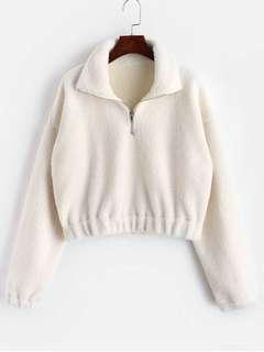 Quarter Zip Faux Fur White Sweater