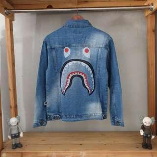 Jaket jeans x bape shark premium