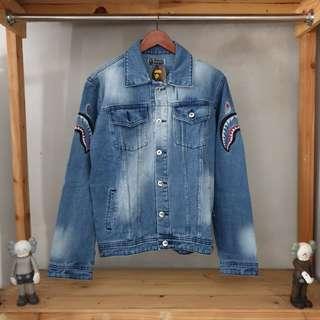 Jaket denim jeans x bape shark premium