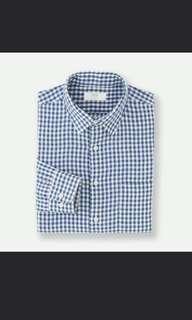 UNIQLO Blue collar shirr
