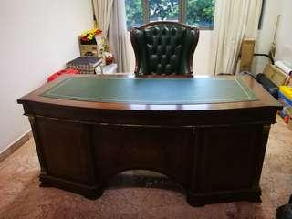 Vintage executive table and chair