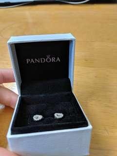Pandora Open Heart Pave Silver Stud Earrings