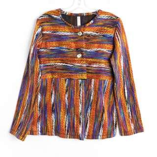 Orange jacket woven unique artsy material creative S Small M medium