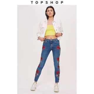Topshop jamie logo floral jeans