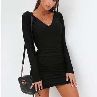 Backless black long sleeve dress