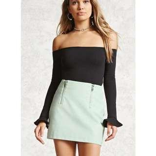 Mint Faux Leather Skirt