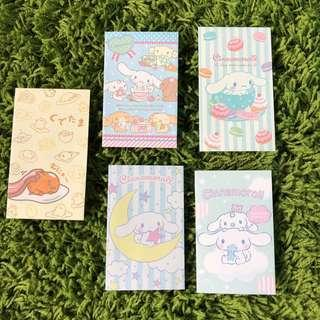 Sanrio Original Cinnamoroll + Gudetama Set of 5 paper money envelope