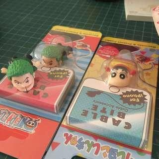 🚚 One piece zoro and Shin chan iphone cable bite