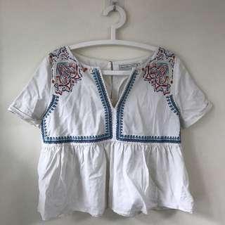 A&F tribal top short sleeves peplum 民族風上衣