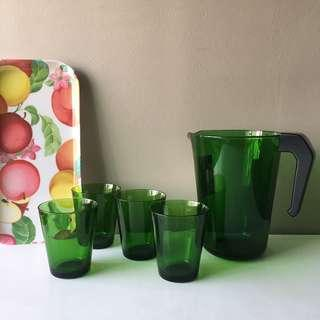 French Vintage 5pc Green Glass Jug and Tumblers