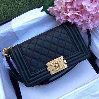 🖤Beautiful and Super Rare!🖤 Chanel Le Boy Flap Small In Black Caviar Aged GHW