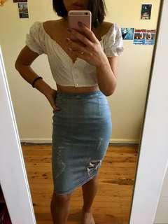 SKIN AND THREADS DENIM PENCIL SKIRT SIZE 0 / XS