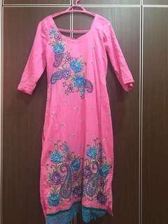 Pink Long Dress + Pajama Punjabi Suit