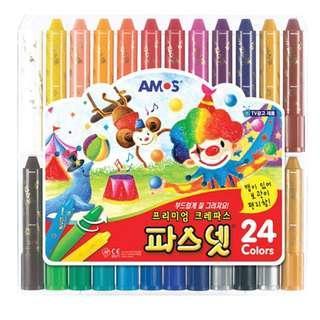 韓國直送 AMOS 24色🎨可水洗無毒旋轉式蠟筆