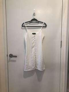 🚚 BNWT Supergurl White Spaghetti Strap Dress with Front Buttons and Pockets