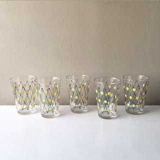 5pc Vintage Retro Style Tumblers/ Drinking Glasses in Yellow/ Blue Pattern
