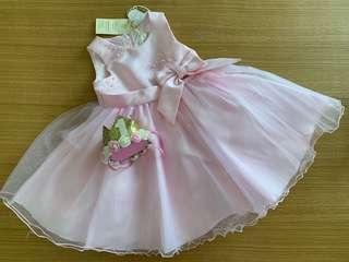 Baby girl pink tulle dress with 1 yr princess top