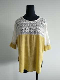 Lace mustard yellow batwing top size 10