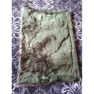 SALE NEW dark green Large marble print men's shirt