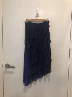 Daniel Yam Asymmetrical Midi Strapless Layered Glitter Dress in Dark Blue Navy good for Prom Cocktail Wedding