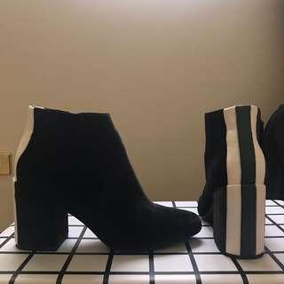 Black Velvet Healed Boots with Green and White Stripe
