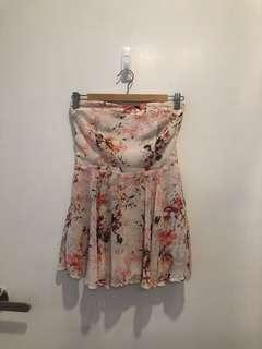 The Tinsel Rack TTR Strapless Yellow And Pink Floral Romper