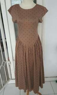 Vintage brown polka dress