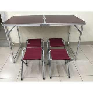 💥(WITH 4 STOOLS) PORTABLE FOLDABLE ALUMINIUM TABLE / MEJA LIPAT