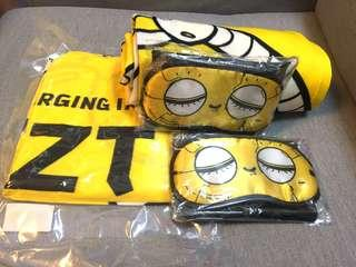 Scoot blanket, eye mask and air pillow
