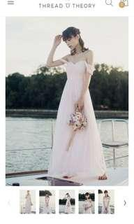 🚚 Thread Theory TT Beloved by the Sea Maxi Dress in Ice Pink Baby Pink Tulle Chiffon Bridesmaid